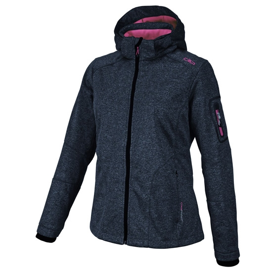 Campagnolo Softshell Zip Hood Jacket W - Grey Melange/Pink