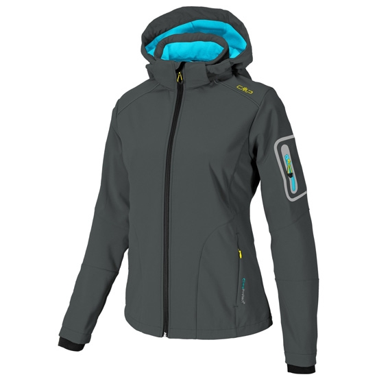 Campagnolo Softshell Zip Hood Jacket W - Aquamarine/Nero
