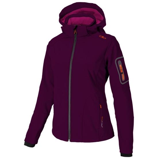 Campagnolo Softshell Zip Hood Jacket W - Berry/Asphalt/Tangeri
