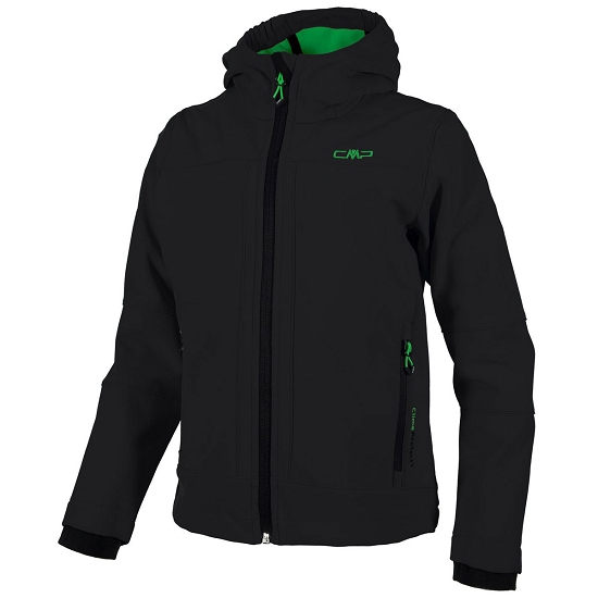 Campagnolo Softshell Fix Hood Jacket Boy - Nero/Acacia