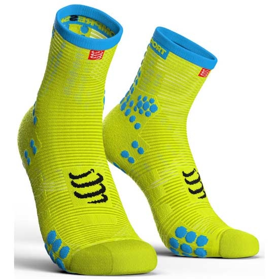 Compressport Racing Socks V3.0 Run High Cut - Fluor Yellow