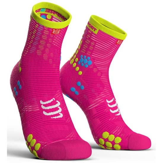 Compressport Racing Socks V3.0 Run Hi - Fluor Pink