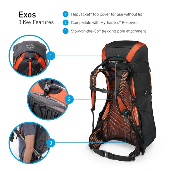Osprey Exos 48 S - Photo of detail