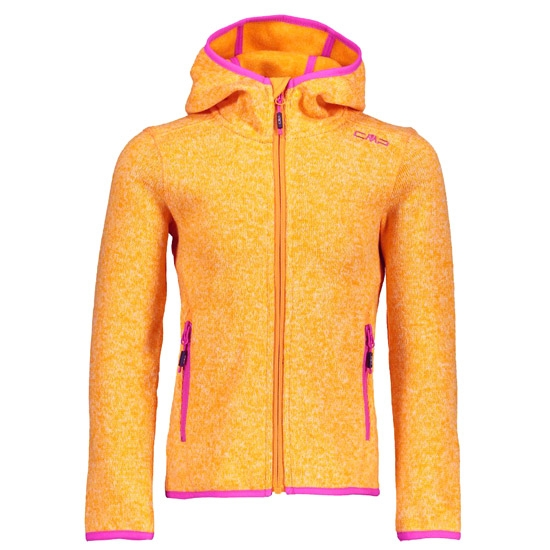 Campagnolo Knitted Fix Hood Jacket Girl - Mango/Hot Pink