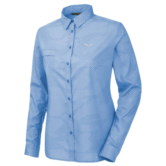 Salewa Puez Camo Dry L/S Srt W - Camo vista blue