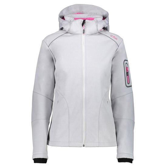 Campagnolo Softshell Zip Hood Jacket W - Ice Melange/Hot Pink