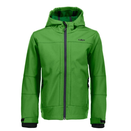 Campagnolo Softshell Fix Hood Jacket Boy - Green/Emerald