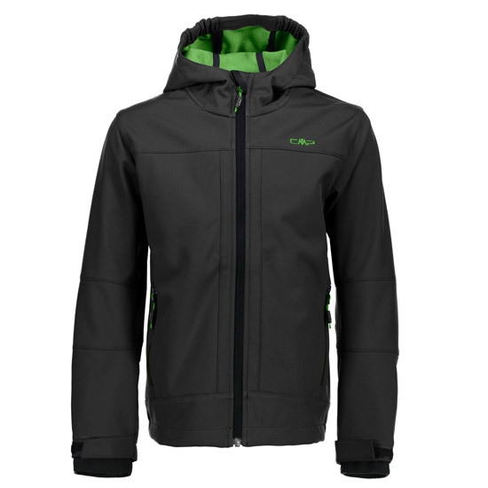 Campagnolo SoftShell Fix Hood Boy - Asphalt/Green