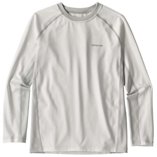 Patagonia Boys' Long-Sleeved Silkweight Rashguard Jr - White w/Tailored Grey