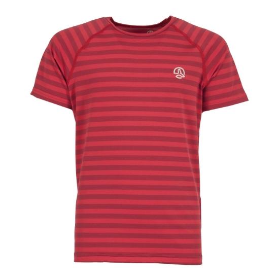 Ternua Imron Shirt Kids - Bright Red Stripes