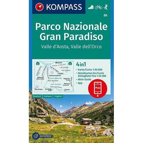 Ed. Kompass Mapa Gran Paraiso Valle D'Aosta 1:50000 -