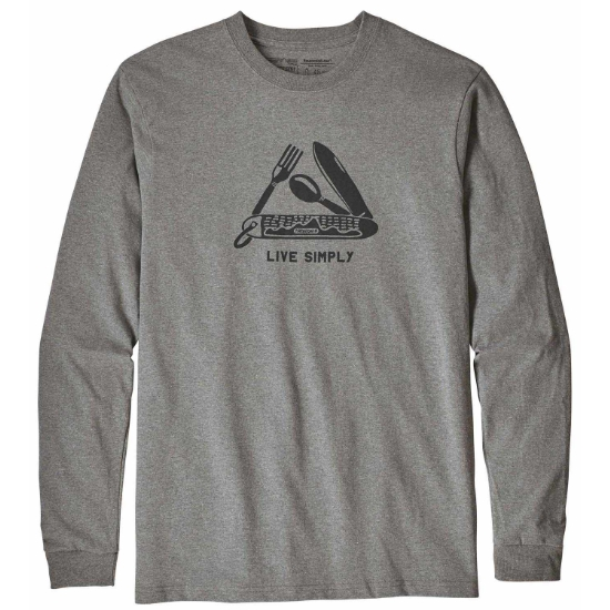 Patagonia L/S Live Simply Pocketknife Responsibili-Tee - Gravel Heather