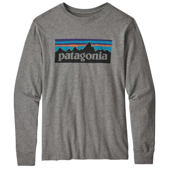 Patagonia Long-Sleeved Graphic Organic T-Shirt Jr - Logo/Gravel Heather
