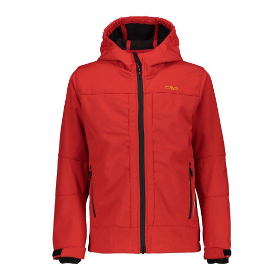 Campagnolo Softshell Fix Hood Jacket Boy - Ferrari/Nero