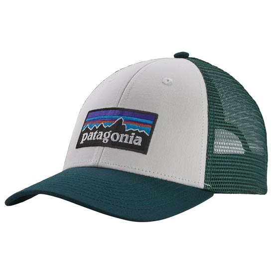 Patagonia P-6 Logo Lopro Trucker Hat - White w/Piki Green