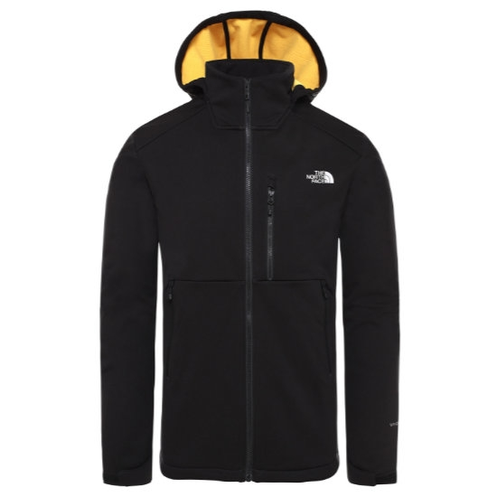 The North Face Kabru Softshell Hooded Jacket - TNF Black/TNF Yellow