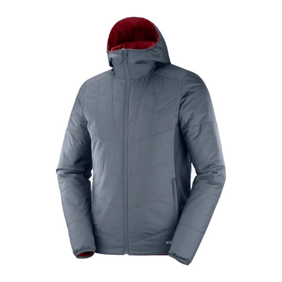 Salomon Drifter Mid Hoodie - Ebony/Biking Red