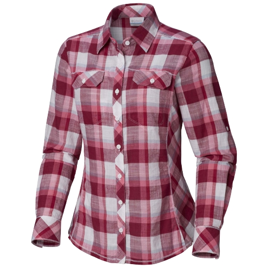 Columbia Camp Henry Ls Shirt W - Wine Berry Block