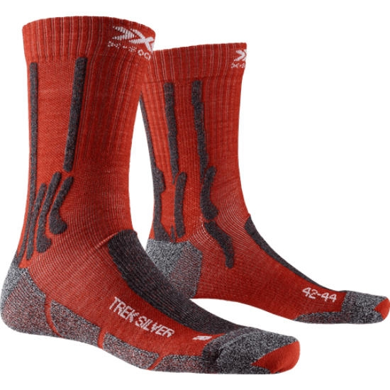 Xsocks Trek Silver - Crimson Red/Dolomite Grey