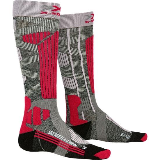 Xsocks Ski Rider 4.0 W - Stone Grey Melange/Pink
