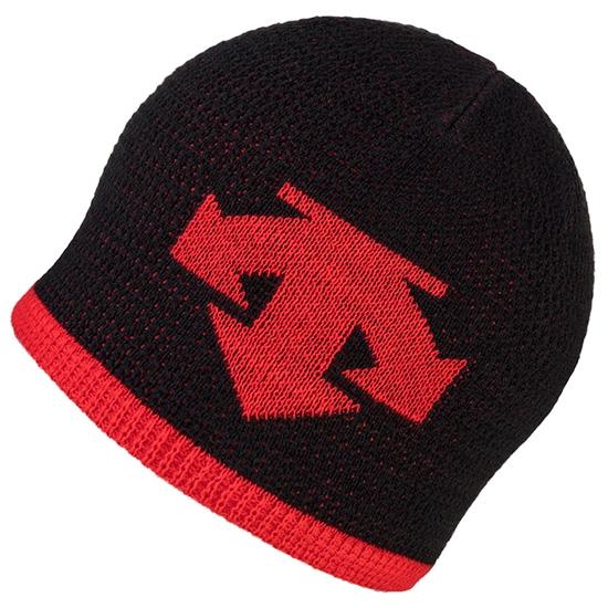 Descente Knit Cap - Black/Electric Red