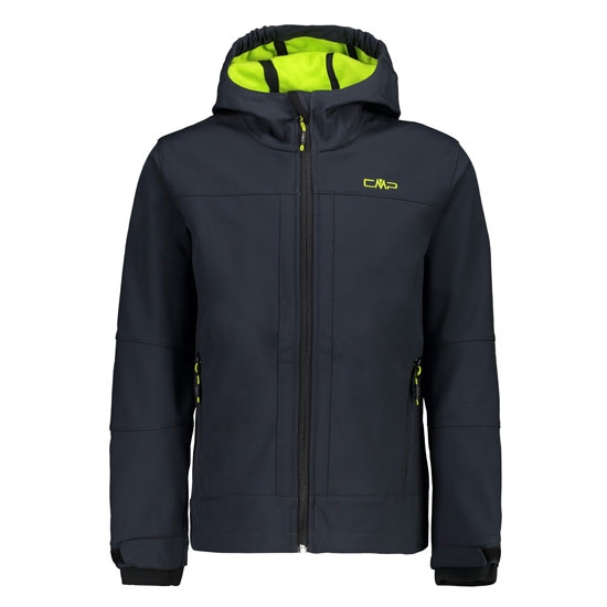 Campagnolo Fix Hood Softshell Boy - Antracite/Limegreen