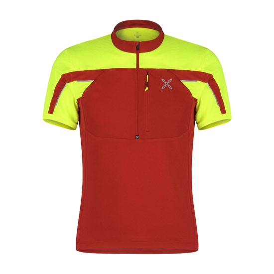 Montura Workframe High Zip 2 T-Shirt - Rojo-amarillo