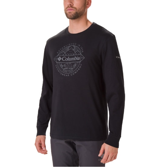 Columbia Cades Cove Ls Graphic Tee - Black/Faceted