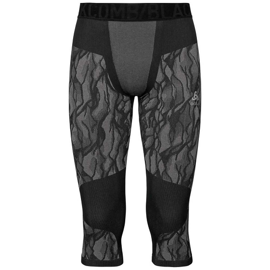 Odlo BlackComb 3/4 Baselayer Pants - Black/Odlo Steel