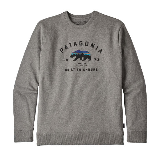 Patagonia Arched Fitz Roy Bear Uprisal Crew Sweatshirt - Gravel Heather