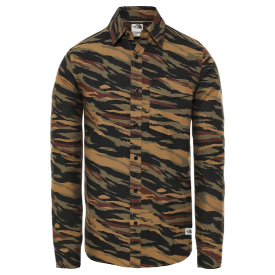 The North Face Northwatch Printed Shirt - Burnt Olive Green Tiger Camo Print