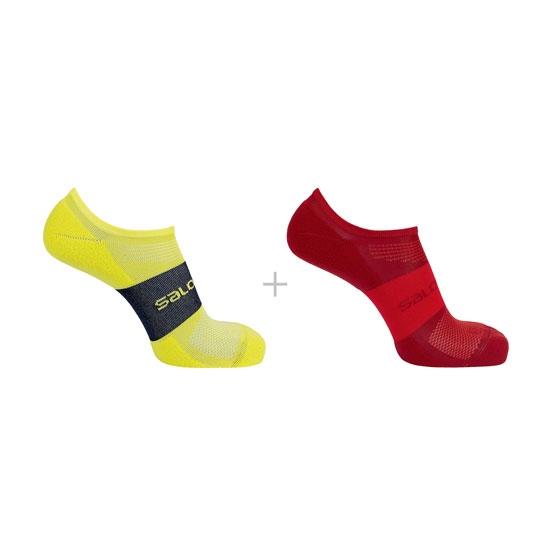 Salomon Socks Sonic 2 Pack - Red Dahlia/Citronelle