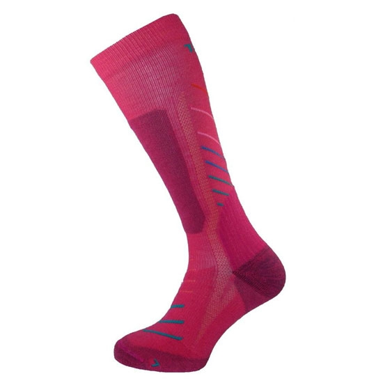 Teko Super Evo Ski Socks - Raspberry Stripe
