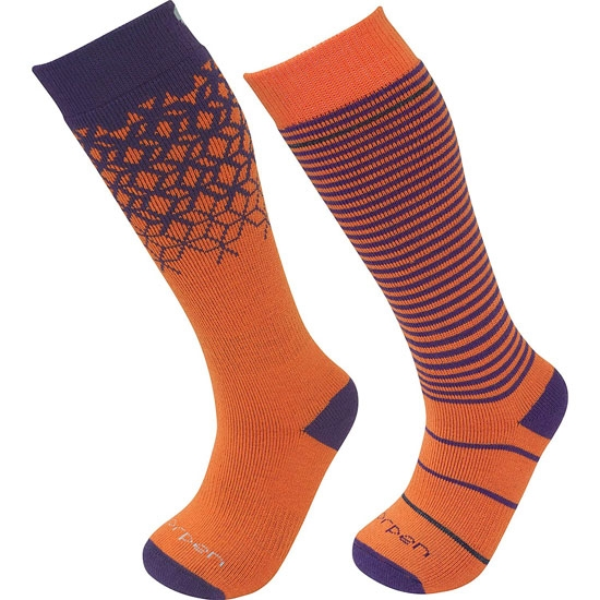 Lorpen Merino Ski Kids 2Pack - Orange/Purple