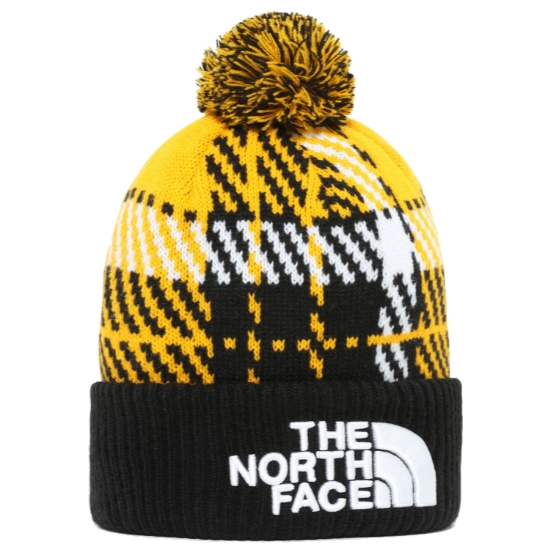 The North Face Retro TNF Pom Beanie - Summit Gold Heritage 3 Color Plaid