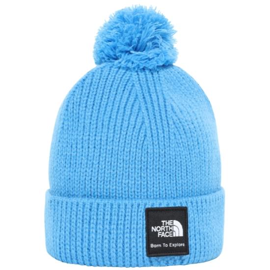 The North Face Littles Box Logo Pom Beanie - Clear Lake Blue