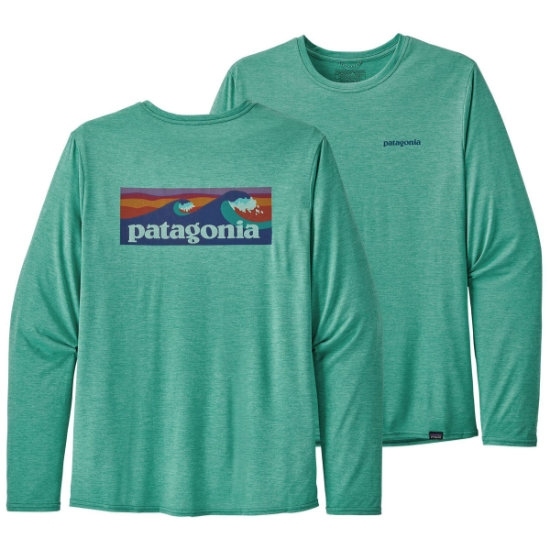 Patagonia Long-Sleeved Capilene® Cool Daily Graphic Shirt - Boardshort Logo/Beryl Green