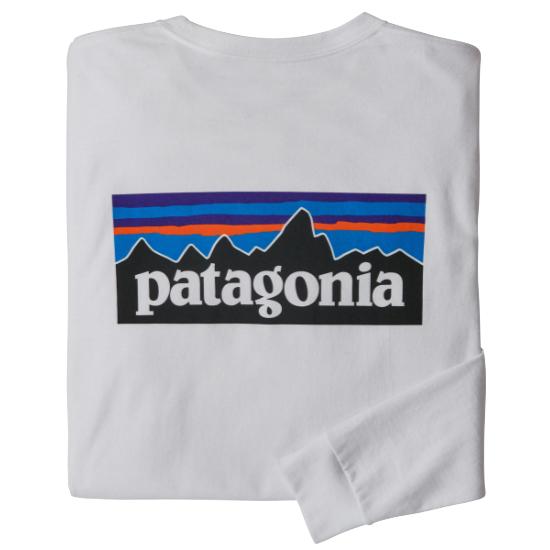 Patagonia L/S P-6 Logo Responsibili-Tee - White