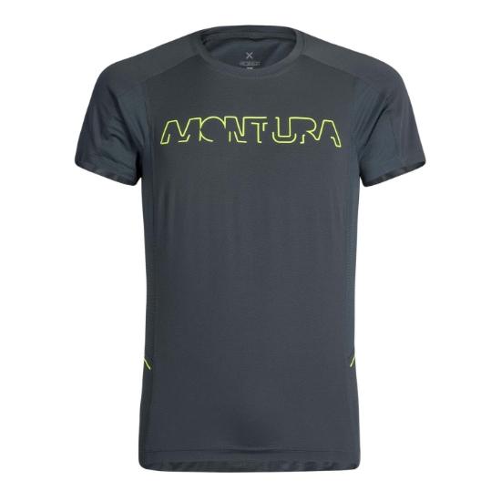 Montura Run Logo T-Shirt - Piombo/Giallo Fluo