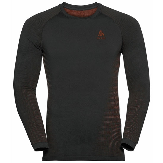 Odlo Performance Warm Eco Long Sleeve Baselayer Top - Black/Orange