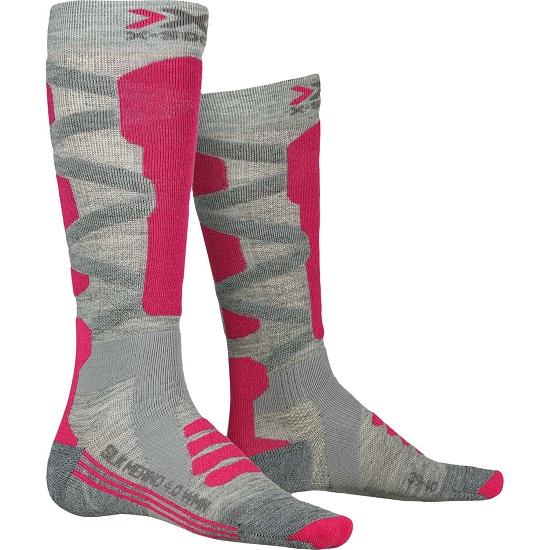 Xsocks Ski Silk Merino 4.0 W - Grey Mel/Pink