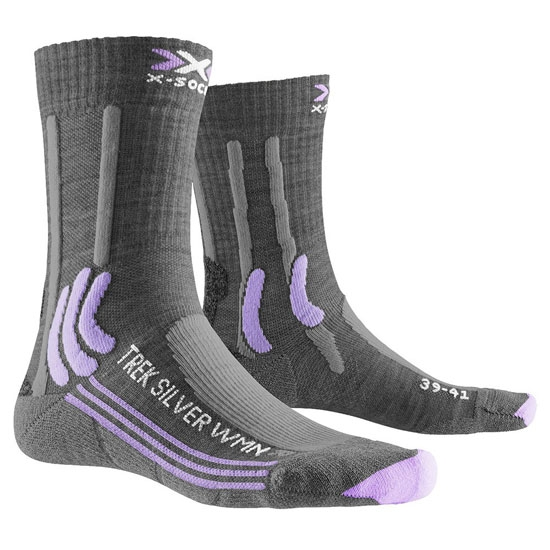 Xsocks Trek Silver W - Grey Melange/Bright Lavender