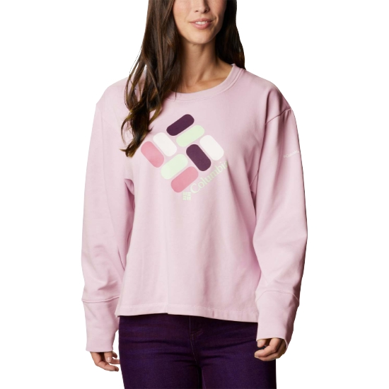 Columbia Logo French Terry Crew W - Faux Pink