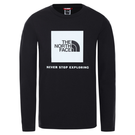 The North Face Y New L/S Box Logo Tee - TNF Black/Glow In The Dark