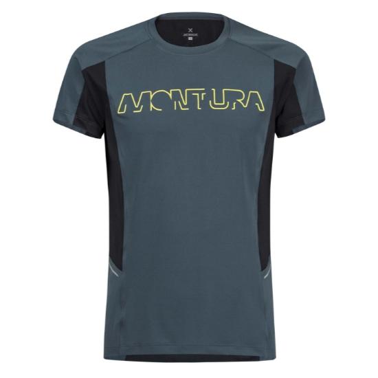 Montura Run Logo T-Shirt -  Blu Cenere/Nero