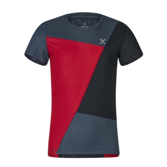 Montura Outdoor Color Block T-Shirt Kids - Rosso/Blu