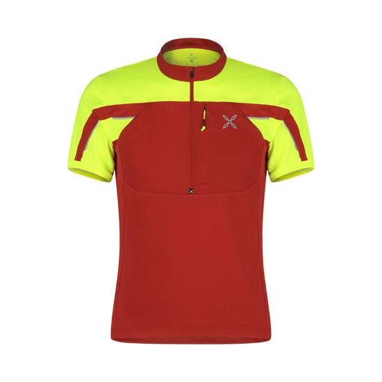 Montura Workframe High Zip 2 T-Shirt - Rosso/Giallo Fluo