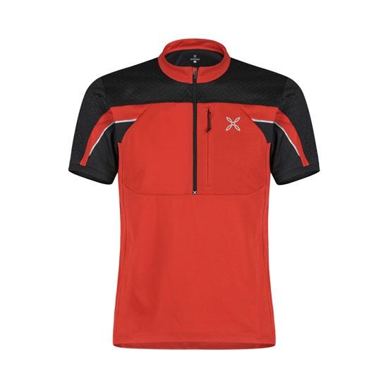 Montura Workframe High Zip 2 T-Shirt - Rosso/Nero